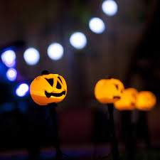 orange led outdoor pumpkin halloween stake lights halloween lighting