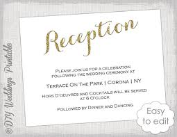 reception invitations wedding reception invitation template diy gold