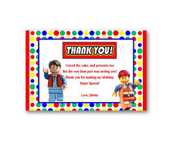 Lego Invitation Cards Colorful Rainbow Lego Thank You Card Kids From Uinvites Com