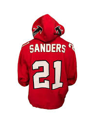 atlanta falcons 21deion sanders primetime red jersey hoody