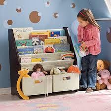 Fabric Sling Bookshelf Amazon Com Kids U0027 Sling Bookshelf With Storage Bins Espresso
