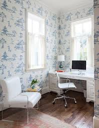 Toile Cafe Curtains Office With Blue Toile Wallpaper And Leather And Lucite Chair