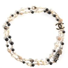 pearl charm necklace images Chanel pearl cc 100th anniversary coco charm necklace black beige jpg