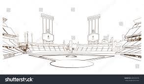sketch baseball stadium vector stock vector 665545318 shutterstock