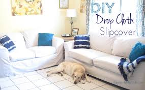 No Sew Slipcover For Sofa by Diy Drop Cloth Slipcover Tutorial The Painted Patch