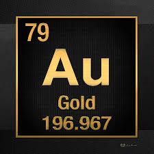 Diamond Periodic Table Periodic Table Of Elements Gold Au Gold On Black Digital Art