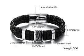 steel leather bracelet images Genuine leather bracelet men stainless steel leather braid jpg