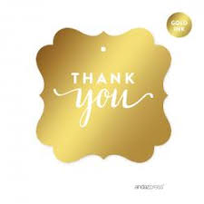 thank you tags square favor gift tags metallic gold ink thank you