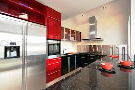modern kitchen design with red color cast griyane concrete granite