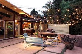 Patio String Lights by Outside String Lights Patio Midcentury With Ranch Modern Planter