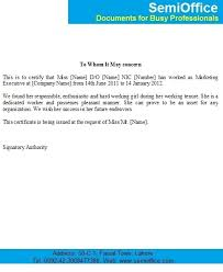 Work Certification Letter Sle To Whom It May Concern Job Experience Letter For Marketing Executive