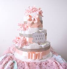 gold u0026 blush pink diaper cake for baby baby shower