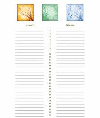 yearly calendar list template blank calendar design 2017