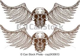 skull wings skull wing image isolated on a white vectors