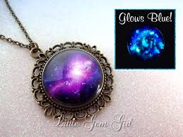 glow in the necklaces purple galaxy necklace glow in the jewelry space nebula