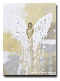 original angel painting guardian angel gold grey home decor large