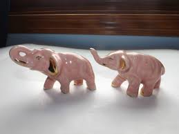 Porcelain Elephant Vintage Porcelain Ceramic Pink Elephants Gold Trim Ebay Pink