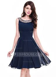 a line princess scoop neck knee length chiffon cocktail dress with