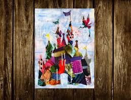 castle wall art princess castle print mixed media collage zoom