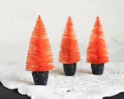 Halloween Tree Craft by Halloween Trees Orange Bottle Brush Trees In Black Spun Cotton