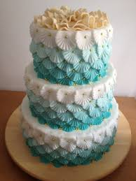 3 tiered jade green ombre wedding cake with flowers gold pearls