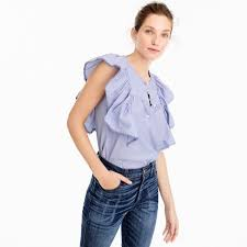 j crew blouses j crew ruffle front shirt in end on end cotton best j crew tops
