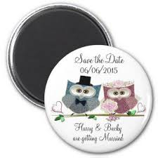 wedding magnets blue and yellow owls wedding magnets save the date magnets