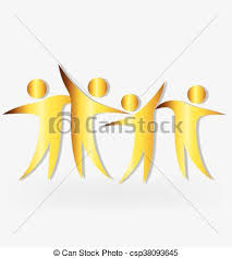 happiness symbol happiness symbol teamwork optimistic in gold color eps