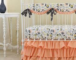 Teal Crib Bedding Sets Etsy Baby Girl Bedding Sets Home Design Ideas Peach Baby Bedding