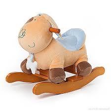 siege a bascule bebe labebe cheval à bascule enfant jaune chiot chien jeu à bascule bois