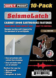earthquake proof cabinet locks seismolatch automatic earthquake activated cabinet latch brown 10