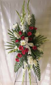 funeral spray and white funeral flowers on a stand for delivery in houston tx