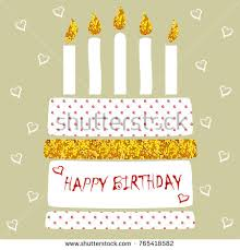 cute happy birthday card cake candles stock vector 377625250