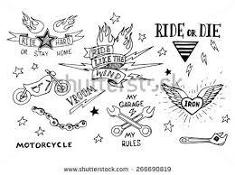 traditional tattoo biker set design elements stock vector