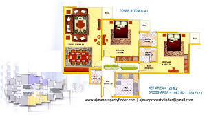 2bhk floor plan falcon tower properties in ajman freehold property