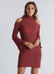 maroon sweater dress out in the cold shoulder sweater dress brick black huntergreen