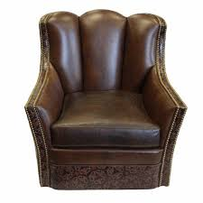 Swivel Accent Chair by Embossed Leather Rocking Swivel Accent Chair