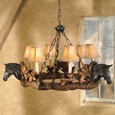 Western Kitchen Ideas by Horse Head Chandelier