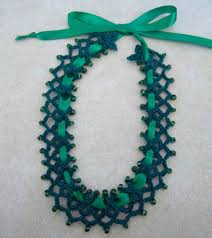 emerald green ribbon emerald green beaded tatted choker necklace on ribbon