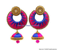 jumka earrings yaalz zigzag chand bali jhumka earring in royal blue with pink colors