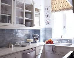 glass subway tile backsplash kitchen house beautiful small cozy white blue kitchen design
