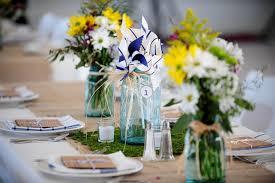 Mason Jar Floral Centerpieces Chic Wildflower Wedding Reception Flower Centerpieces In Glass