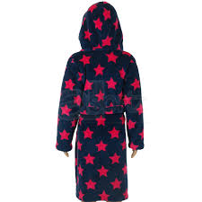 navy supersoft fleece hooded dressing gown with pink stars