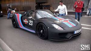 porsche 918 spyder martini track pack startup and accelerations