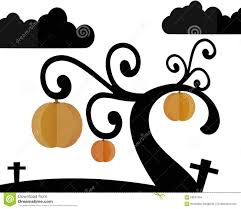 graveyard clipart pumpkin tree in graveyard and night sky in halloween night stock