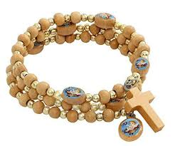 wooden rosary catholic religious spiral wrap wooden rosary bracelet with blue