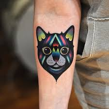 colorful cat tattoo by david cote