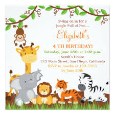 Jungle Birthday Card Safari Birthday Cards Invitations Zazzle Co Uk