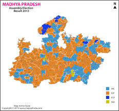 assembly row map madhya pradesh assembly elections 2013 and 2008 results