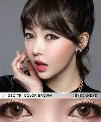 geo tri color colored contacts perfect dark brown